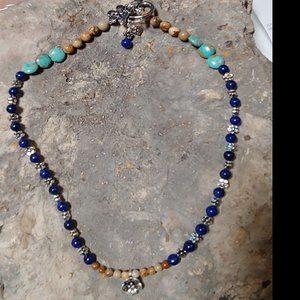 Sundance J.S.Jill Silver Flower Gemstone Necklace